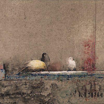 """""""Pájaros VIII"""". 26 x 50 cm. Técnica mixta / papel / tabla"""
