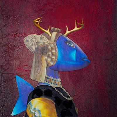 Mujer pez. 2012. 30x40 cm. Collage. Técnica mixta sobre tabla