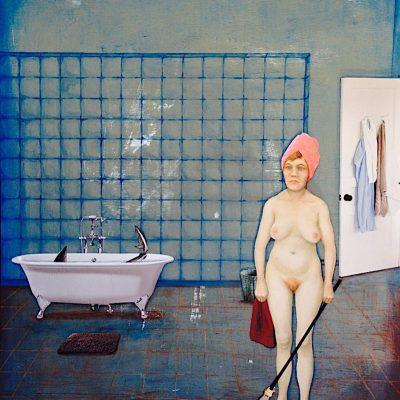 Baño de riesgo. 2015. 40x50 cm. Collage. Técnica mixta sobre tabla