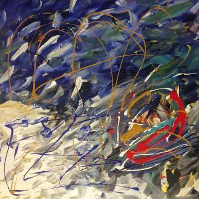 Blue Lagoon. 2017. Acrylic on Canvas.127 x 127cm