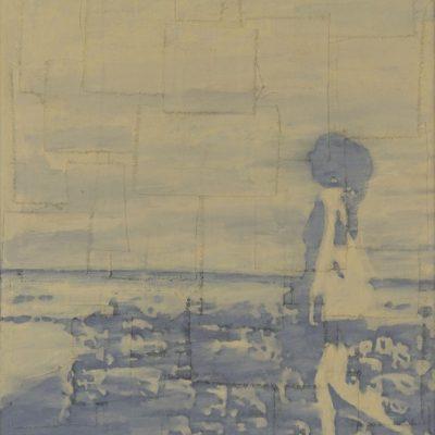 Mujer caminando, 2019. Oleo sobre tela. 41x 27 cm.